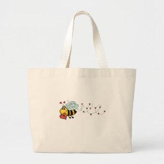 Be mine - Cute Bee holding a heart Jumbo Tote Bag