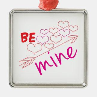 Be Mine Silver-Colored Square Ornament