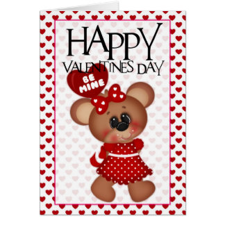 Be Mine Girl Bear Happy Valentine Greeting Card