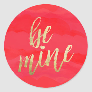 Be Mine Gold and Red Watercolor Classic Round Sticker
