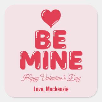Be Mine Heart Balloon Letter Valentine's Day Square Sticker