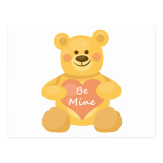 Be Mine Heart Bear Postcard