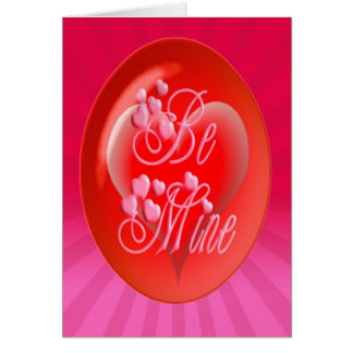 BE MINE HEART BUBBLE & LIGHT RAYS by SHARON SHARPE Greeting Card