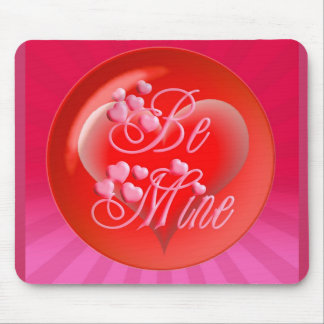 BE MINE HEART BUBBLE & LIGHT RAYS by SHARON SHARPE Mouse Pads