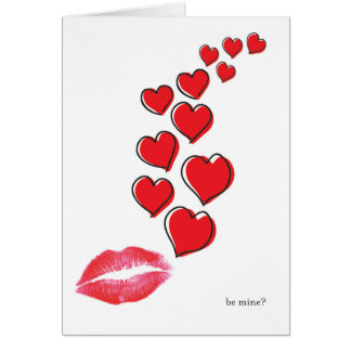 be mine? lips & hearts valentine card