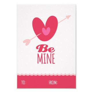 "Be Mine Love Classroom School Kids Valentine's Day 3.5"" X 5"" Invitation Card"