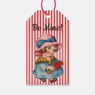 """""""Be Mine!"""" Retro Girl Valentines Gift Tags"""