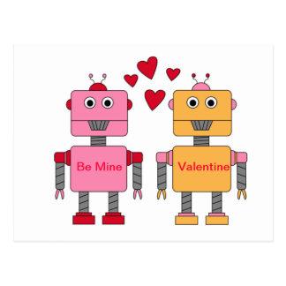 Be Mine Robots Postcard