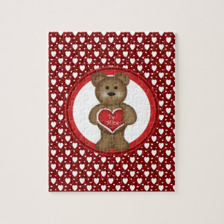 Be Mine, Standing Valentine Bear, Hearts, Red Jigsaw Puzzle