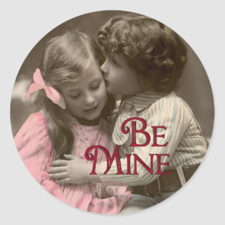 Be Mine Sweet Vintage Valentine Round Sticker