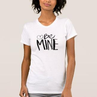 Be Mine Valentine's   Black Brush Script T Shirts