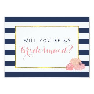 Be My Bridesmaid Card | Navy Stripe & Blush Peony
