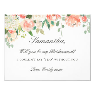 Be My Bridesmaid Card Peach Floral