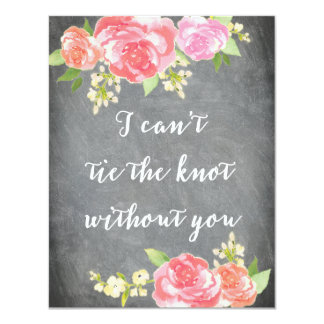 Be My Bridesmaid Chalkboard Watercolor TIE KNOT 4.25x5.5 Paper Invitation Card