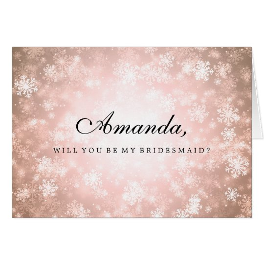 Be My Bridesmaid Copper Winter Wonderland Card