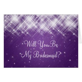 Be My Bridesmaid Glamorous Sparks Purple Cards