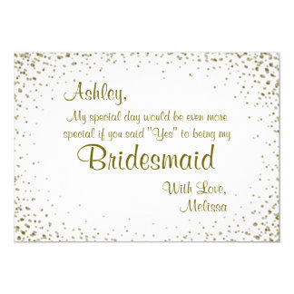 Be My Bridesmaid | Gold Confetti 13 Cm X 18 Cm Invitation Card