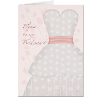 Be My Bridesmaid Lace Gown Coral Greeting Card