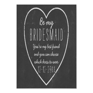 Be My Bridesmaid Request - faux chalkboard framed Magnetic Card
