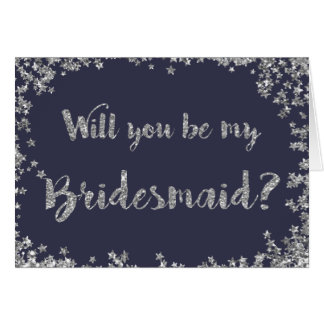 Be My Bridesmaid Silver Glitter Personalised Card