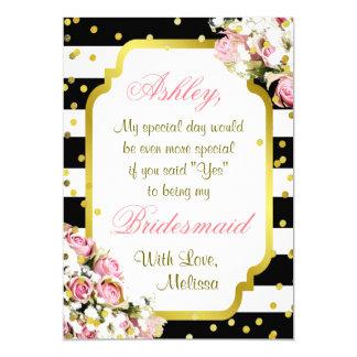 Be My Bridesmaid | Stripes, Confetti, Roses 13 Cm X 18 Cm Invitation Card