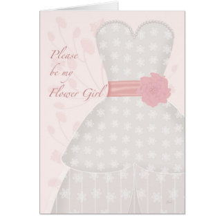 Be My Flower Girl Lace Gown Coral Greeting Card