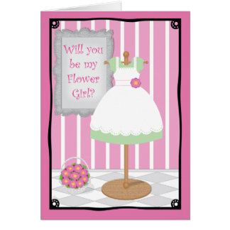 Be My Flower Girl Whimsical Dress Shop Greeting Card