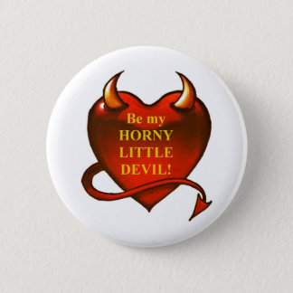 Be my horny little devil 6 cm round badge