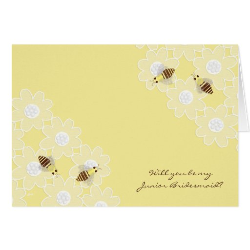 Be My Junior Bridesmaid Honey Bees on Yellow Greeting Cards