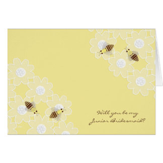 Be My Junior Bridesmaid Honey Bees on Yellow Greeting Card