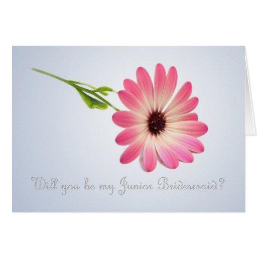 Be my Junior Bridesmaid - pink daisy Card