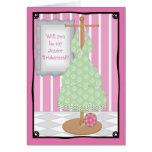 Be My Junior Bridesmaid Whimsical Dress Shop Greeting Card