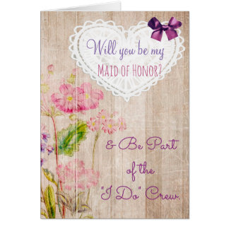 Be My Maid of Honor Rustic Wedding Crew Card