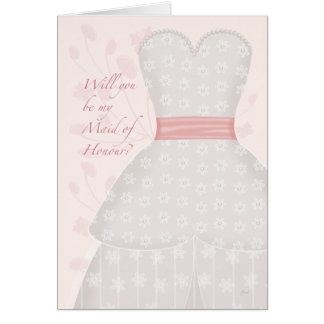 Be My Maid of Honour Lace Gown Coral Greeting Card