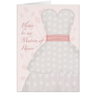Be My Matron Honor Lace Gown Coral Greeting Card