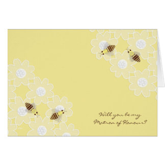 Be My Matron of Honour Honey Bees on Yellow Card