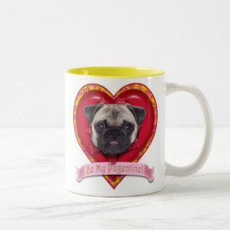 Be My Pugentine Valentine Pug Mug Pink Banner