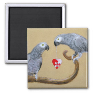 Be My Valentine - African Grey Parrots Square Magnet