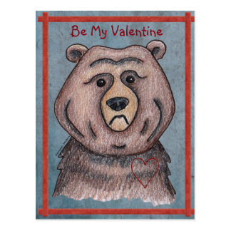 Be My Valentine Bear Postcard