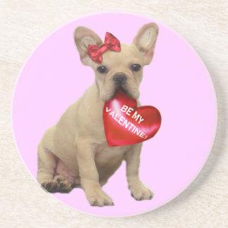 Be my Valentine French Bulldog coaster