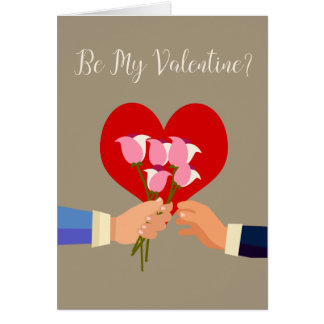 be my valentine gay themed roses and heart card - Gay Valentines Cards