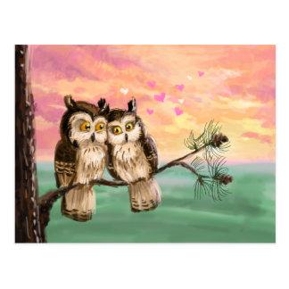 Be my valentine owls postcard