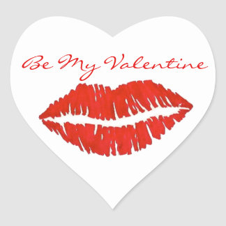 Be My Valentine Red Lipstick Kiss Stickers