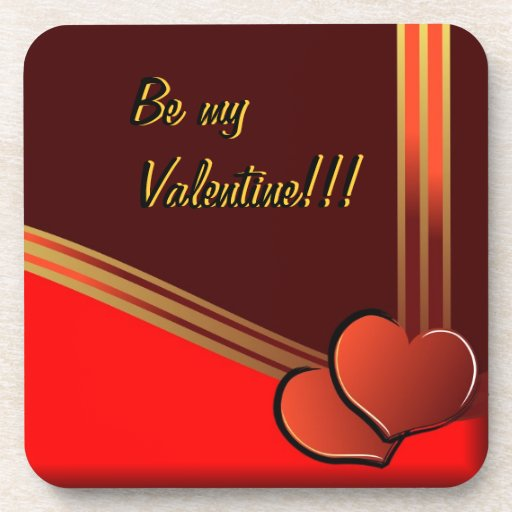 Be my Valentine with hearts and ribbon Coaster