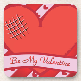 Be my valentine with red heart and stripes coaster