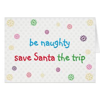 Be Naughty Funny Santa Joke Christmas Holiday Card
