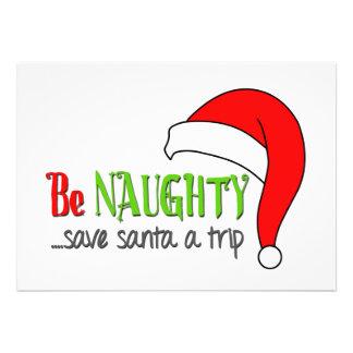 Be Naughty Save Santa a trip - Holiday Card