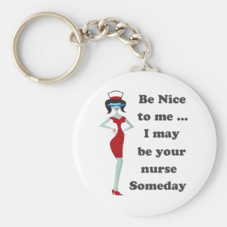 Be nice to me basic round button key ring
