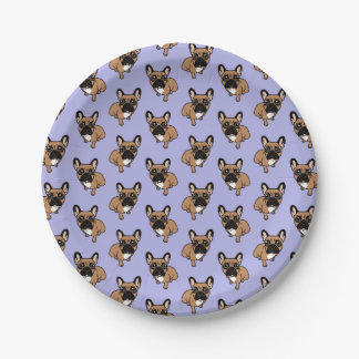Be nice to the cute black mask fawn Frenchie Paper Plate