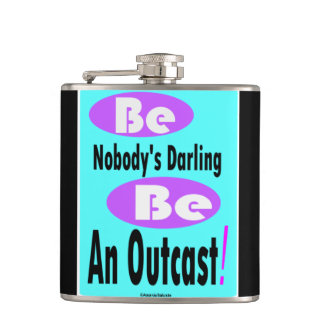 Be Nobody's Darling 6 oz black & teal color Flask